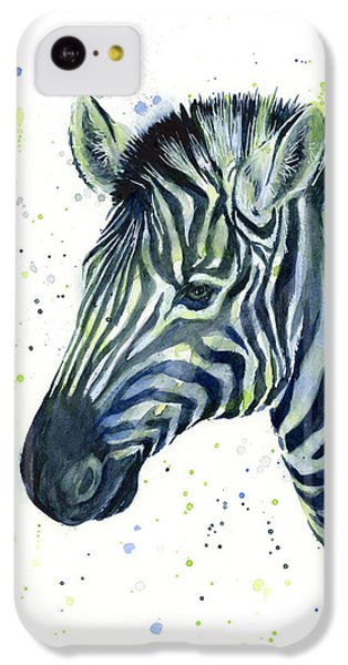 Zebra Watercolor Blue Green  IPhone 5c Case by Olga Shvartsur