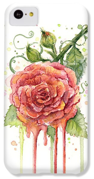 Red Rose Dripping Watercolor  IPhone 5c Case