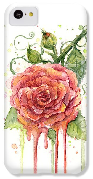 Rose iPhone 5c Case - Red Rose Dripping Watercolor  by Olga Shvartsur