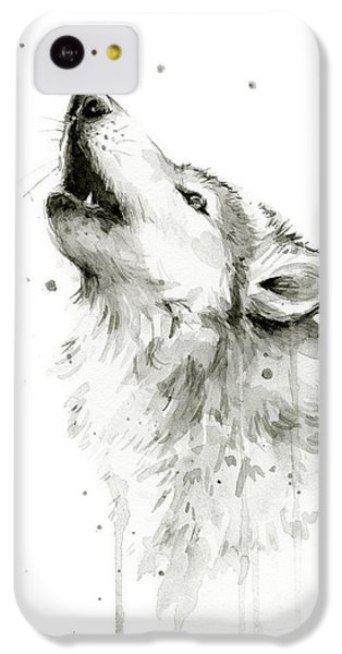 Howling Wolf Watercolor IPhone 5c Case by Olga Shvartsur