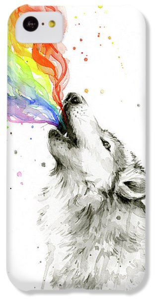 Wolf iPhone 5c Case - Wolf Rainbow Watercolor by Olga Shvartsur