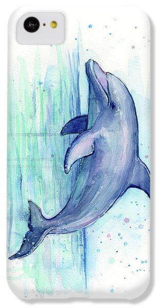 Dolphin Watercolor IPhone 5c Case by Olga Shvartsur