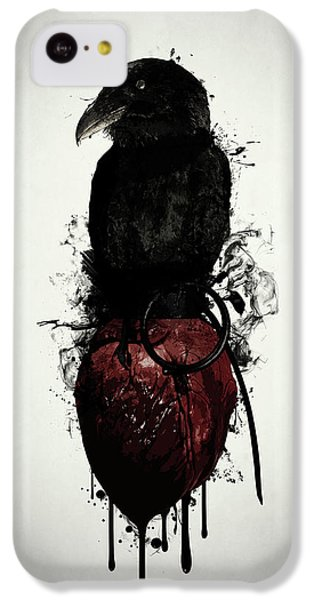 Raven iPhone 5c Case - Raven And Heart Grenade by Nicklas Gustafsson