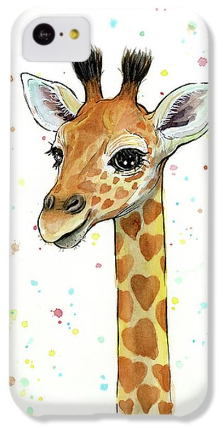 Baby Giraffe Watercolor With Heart Shaped Spots IPhone 5c Case by Olga Shvartsur