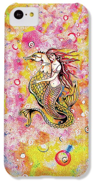 IPhone 5c Case featuring the painting Black Sea Mermaid by Eva Campbell