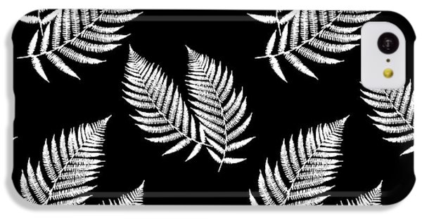 IPhone 5c Case featuring the mixed media Fern Pattern Black And White by Christina Rollo