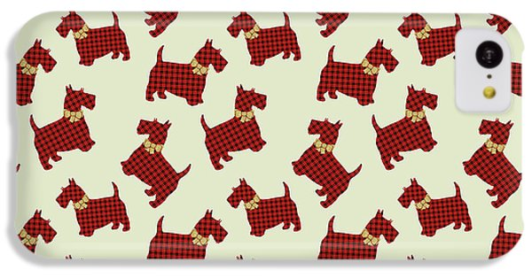 IPhone 5c Case featuring the mixed media Scottie Dog Plaid by Christina Rollo