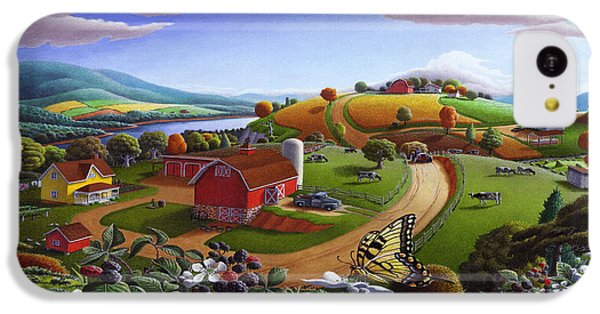 Folk Art Blackberry Patch Rural Country Farm Landscape Painting - Blackberries Rustic Americana IPhone 5c Case