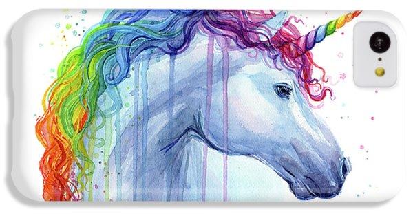 Unicorn iPhone 5c Case - Rainbow Unicorn Watercolor by Olga Shvartsur