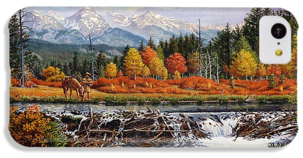 Western Mountain Landscape Autumn Mountain Man Trapper Beaver Dam Frontier Americana Oil Painting IPhone 5c Case