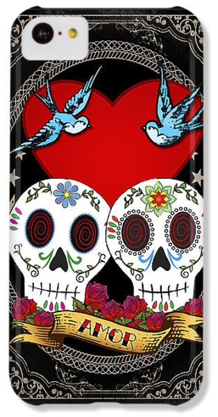 Folk Art iPhone 5c Case - Love Skulls II by Tammy Wetzel