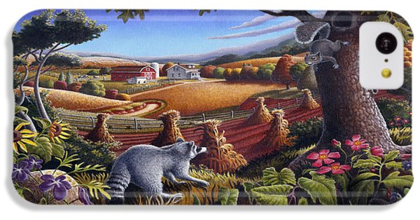 Rural Country Farm Life Landscape Folk Art Raccoon Squirrel Rustic Americana Scene  IPhone 5c Case