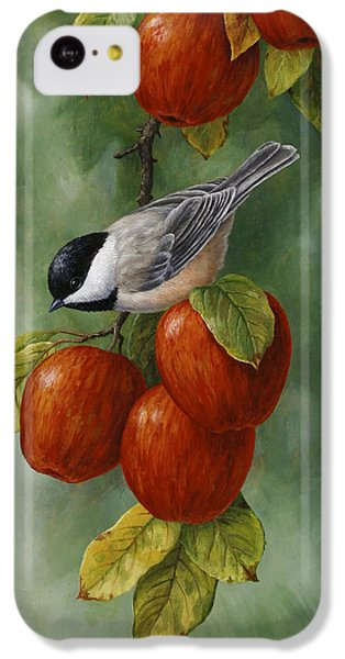 Bird Painting - Apple Harvest Chickadees IPhone 5c Case by Crista Forest
