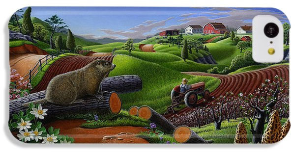 Farm Folk Art - Groundhog Spring Appalachia Landscape - Rural Country Americana - Woodchuck IPhone 5c Case by Walt Curlee