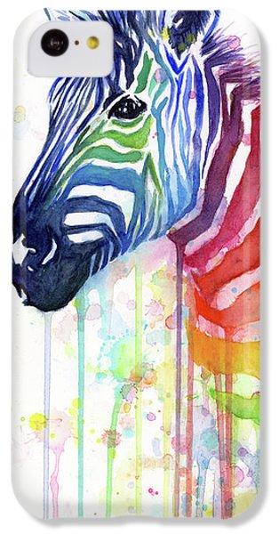 Orange iPhone 5c Case - Rainbow Zebra - Ode To Fruit Stripes by Olga Shvartsur