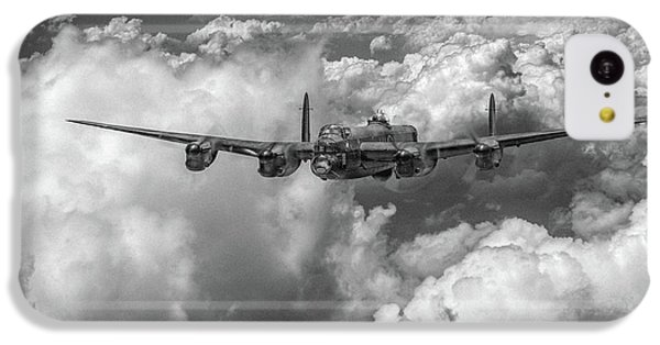 IPhone 5c Case featuring the photograph Avro Lancaster Above Clouds Bw Version by Gary Eason