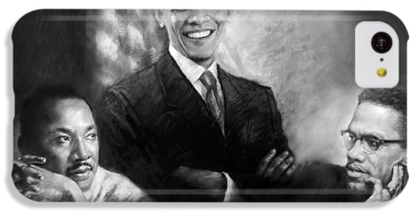 Barack Obama iPhone 5c Case - Barack Obama Martin Luther King Jr And Malcolm X by Ylli Haruni