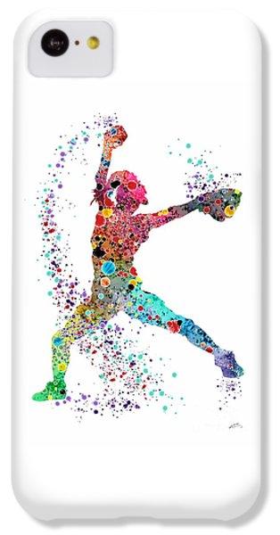 Softball iPhone 5c Case - Baseball Softball Pitcher Watercolor Print by Svetla Tancheva
