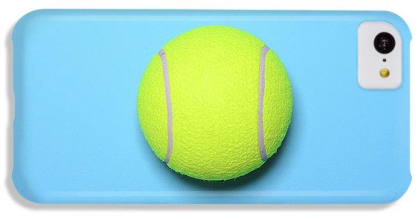 Big Tennis Ball On Blue Background - Trendy Minimal Design Top V IPhone 5c Case by Aleksandar Mijatovic