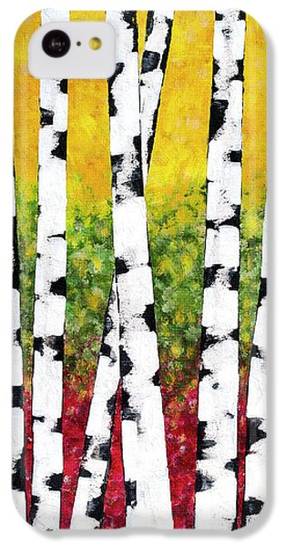 IPhone 5c Case featuring the mixed media Birch Forest Trees by Christina Rollo