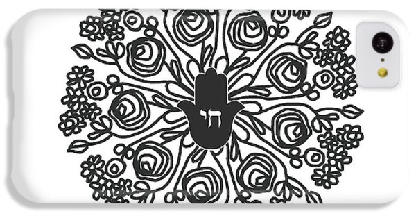 T Shirts iPhone 5c Case - Black And White Hamsa Mandala- Art By Linda Woods by Linda Woods