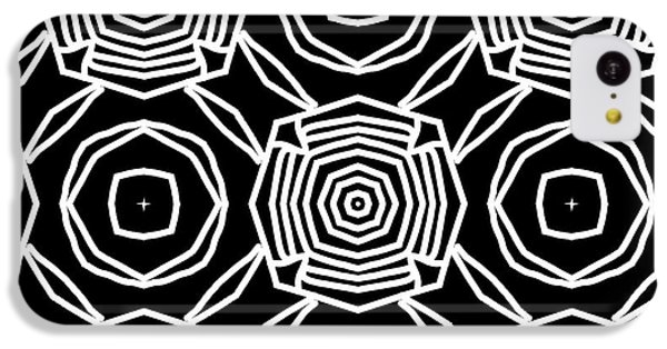 Floral iPhone 5c Case - Black And White Modern Roses- Pattern Art By Linda Woods by Linda Woods