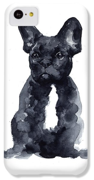Black French Bulldog Watercolor Poster IPhone 5c Case by Joanna Szmerdt