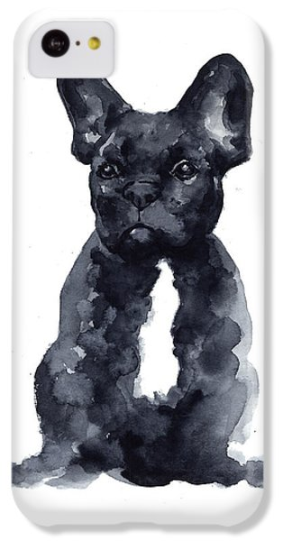 Bull iPhone 5c Case - Black French Bulldog Watercolor Poster by Joanna Szmerdt