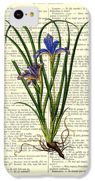 Floral iPhone 5c Case - Black Iris Antique Illustration On Dictionary Page by Madame Memento