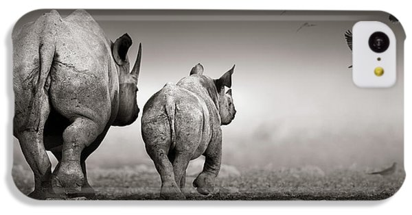 Dove iPhone 5c Case - Black Rhino Cow With Calf  by Johan Swanepoel