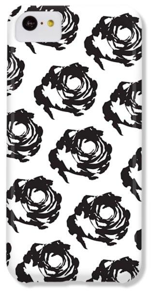 Black Rose Pattern IPhone 5c Case by Cortney Herron
