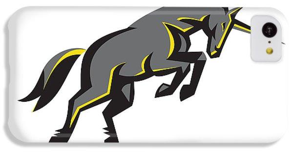 Black Unicorn Horse Charging Isolated Retro IPhone 5c Case