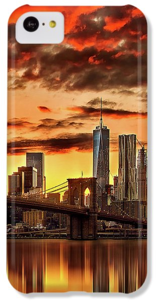 Blazing Manhattan Skyline IPhone 5c Case by Az Jackson