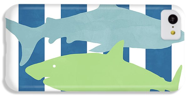 Hammerhead Shark iPhone 5c Case -  Blue And Green Sharks- Art By Linda Woods by Linda Woods