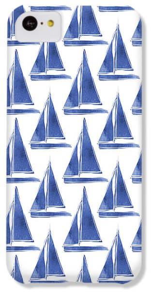Boat iPhone 5c Case - Blue And White Sailboats Pattern- Art By Linda Woods by Linda Woods