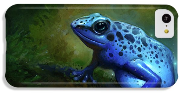 Frogs iPhone 5c Case - Blue Frog by Caroline Jamhour