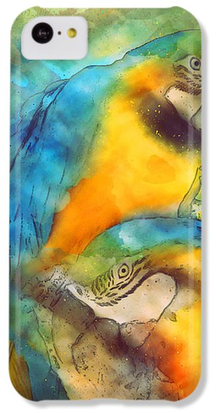 Blue N Gold Macaws IPhone 5c Case by Methune Hively