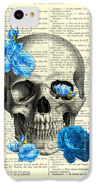 Floral iPhone 5c Case - Blue Roses With Skull Art Print by Madame Memento