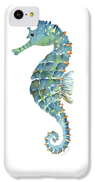 Blue Seahorse IPhone 5c Case by Amy Kirkpatrick