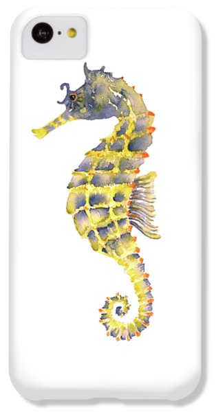 Blue Yellow Seahorse - Square IPhone 5c Case by Amy Kirkpatrick