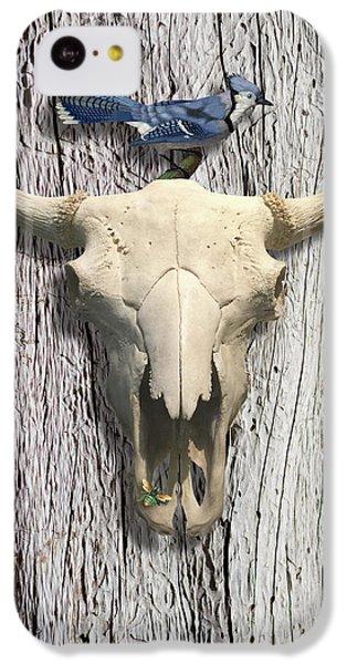 Bluejay iPhone 5c Case - Bluejay And The Buffalo Skull by Gary Grayson