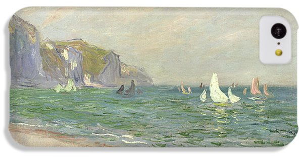 Boat iPhone 5c Case - Boats Below The Cliffs At Pourville by Claude Monet