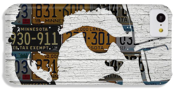 Bob Dylan Minnesota Native Recycled Vintage License Plate Portrait On White Wood IPhone 5c Case by Design Turnpike
