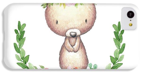Floral iPhone 5c Case - Boho Bear Nursery Pillow Wall Art Mug Woodland Decor by Pink Forest Cafe