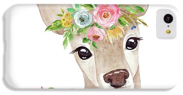 Floral iPhone 5c Case - Boho Woodland Deer With Ribbon by Pink Forest Cafe