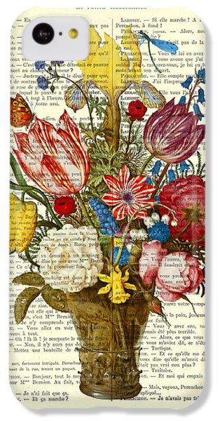 Floral iPhone 5c Case - Bouquet Of Flowers On Dictionary Paper by Madame Memento