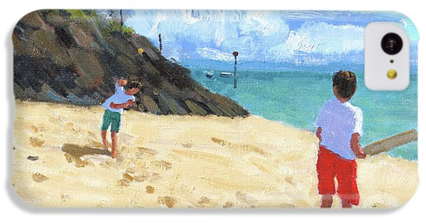 Cricket iPhone 5c Case - Bowling And Batting, Abersoch by Andrew Macara