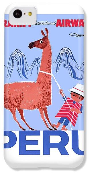 Llama iPhone 5c Case - Braniff Airways Peru Child And Llama Travel Poster by Retro Graphics