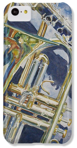 Trombone iPhone 5c Case - Brass Winds And Shadow by Jenny Armitage