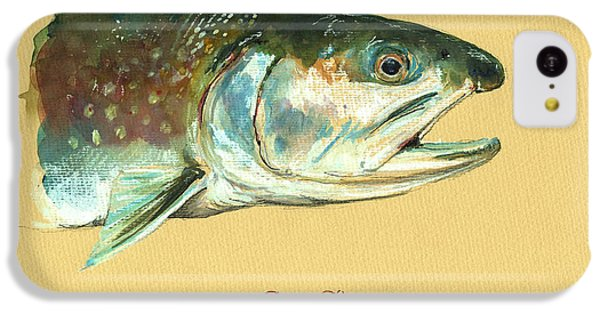 Trout iPhone 5c Case - Brook Trout Watercolor by Juan  Bosco
